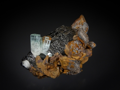 Goethite ps. after Siderite with Aquamarine & Tourmaline from Erongo Mountains, Namibia [db_pics/update7/ML00578a.jpg]